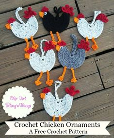 Crochet Chicken Ornaments – OkieGirlBling'n'Things Crochet Chicken Ornaments – OkieGirlBling'n'Things Crochet Puff Flower, Easter Crochet, Crochet Flower Patterns, Cute Crochet, Crochet Flowers, Crochet Toys, Knit Patterns, Crochet Birds, Crochet Appliques