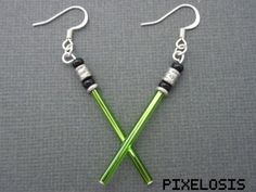 Hey, I found this really awesome Etsy listing at https://www.etsy.com/listing/205873729/shiny-green-lightsaber-earrings-star