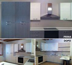 Riqualificazione ante frontali e cassetti cucina con pellicola adesiva. Prodotto utilizzato: 3M™ DI-NOC™
