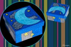caja pequeña cuadrada de cartón pintada con acrilicos  caja de cartón,pinturas acrílicas,barniz pintura acrílica,rotuladores acrílicos