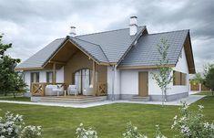 Projekt domu Groszek z garażem dach dwuspadowy opał stały 99,32 m2 - koszt budowy - EXTRADOM