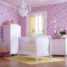 A majestic design, the Bailey Sleigh Cot Bed 3 piece luxury nursery furniture set has a timeless sophistication. A traditional design this nursery . Baby Bedroom Sets, Baby Nursery Sets, Baby Nursery Furniture Sets, Baby Bedding Sets, White Nursery, Nursery Bedding, Nursery Ideas, White Cot Bed, Dresser