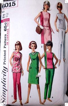 I've seen a thousand color-block dresses just like these. Wouldn't it be fun?  Simplicity 6015 Womens Dress Top Pants Pattern by Denisecraft, $6.99