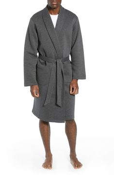 A piqué-knit cotton blend elevates a classic robe built for ideal comfort.