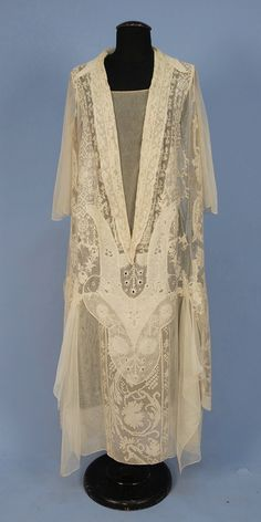 LACE on NET TEA GOWN with EMBROIDERY, c. 1920. Stunning! Would make a wonderful wall decoration when mounted on dark velvet...