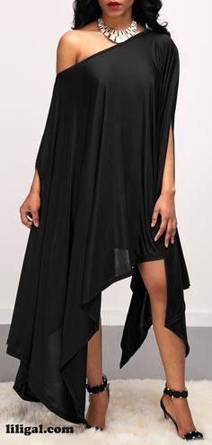 Asymmetric Hem Skew Neck Batwing Sleeve Black Dress   #liligal #dresses #womenswear #womensfashion