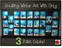Simple, step-by-step instructions for creating beautiful winter art with only 3 colors of paint. Your students will love painting their winter activities while they learn about color value. Winter Art Projects, Winter Crafts For Kids, School Art Projects, Art For Kids, Primary School Art, Art School, School Stuff, Teaching Colors, Teaching Art