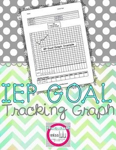 Another pinner:  Use this graph to easily track student's progress on an IEP goal. This editable graph has an area to include the IEP goal and objectives or benchmarks and also a monthly average section, so it's easy to customize it for individual student goals. I use this graph for each student's IEP goals and include it with their data sheets in their data binders. It's super easy for a paraprofessional or volunteer to fill out!