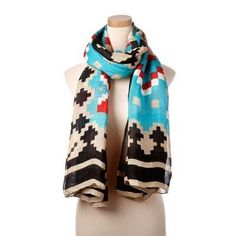 Turquoise Multi Marrakech Tie All Scarf