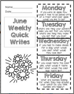 June Quick Writes - Primary Writing Practice, Foldable, Fun Prompts! $