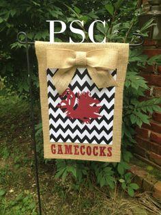 Burlap Garden Flag - South Carolina Gamecocks with Chevron and bow on Etsy, $27.00