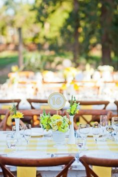 Bright yellow tables just so pretty. All the yellow linens you could need are at Tablecloths Factory! http://www.tableclothsfactory.com/SearchResults.asp?Search=yellow