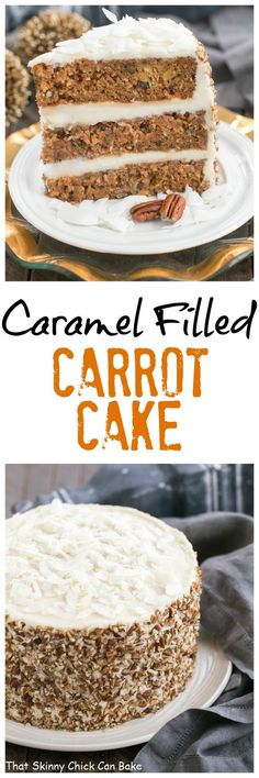 Caramel Filled Carrot Cake | The classic loaded carrot cake with two layers of caramel filling! @lizzydo