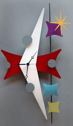 Modern retro metal art sculpture clock by Steve Cambronne.