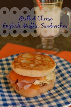 Inside out English muffins with grilled cheese, ham and eggs! A quick and comforting breakfast! -Little Dairy on the Prairie