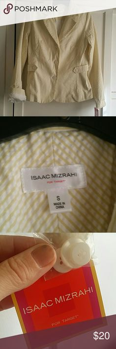 Fitted  striped blazer new . Isaac Mizrahi New with tags. Lined cotton light yellow and white jacket. Gorgeous with jeans or white pants or shorts. Perfect for spring/summer. Isaac Mizrahi for Target Jackets & Coats Blazers