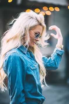 Blonde. Blonde hair. Hair goals. Denim. Free people. FPxme.