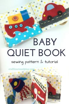 This quiet book is specially designed for babies to explore textures, colours and practice little hand muscles by pulling ribbons. Here is pattern and tutorial for making a little quiet book on your own. #sewing #babygift Diy Quiet Books, Baby Quiet Book, Sewing Toys, Baby Sewing, Sew Baby, Sewing Projects For Kids, Sewing For Kids, Sewing Ideas, Infant Activities