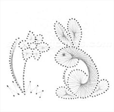 Paper Embroidery Sniffing the Flowers Rabbit Embroidery Cards, Embroidery Patterns, Arte Linear, Stitching On Paper, Sewing Cards, String Art Patterns, Hand Made Greeting Cards, Prego, Thread Art