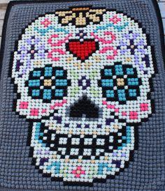 Sugar Skull crochet blanket