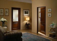Межкомнатные двери в интерьере цвет орех