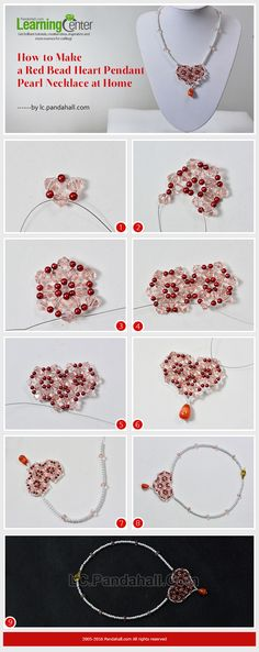 How to Make a Red Bead Heart Pendant Pearl Necklace at Home from LC.Pandahall.com