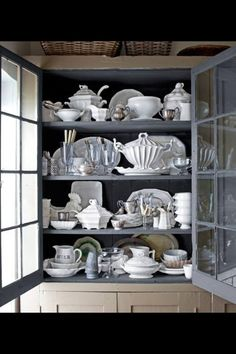 Love the grey inside with white dishes!