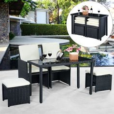 5pc Rattan Patio Set Outdoor Furniture Garden Table+2x Ottomans+2x Chairs in…