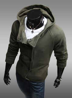 Army Green Solid Jacket @ Looksgud.in   #Men #Jacket