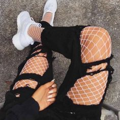 Brand new ✨ Super cool flattering white fishnet mesh high waist tights stockings with large holes . So beautiful to wear with ripped denim jeans skirt on dress or any outfit . Super elastic and will fit to any size small medium large 6 8 10 12