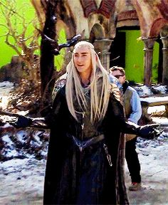 Lee Pace as Thranduil behind the scenes.