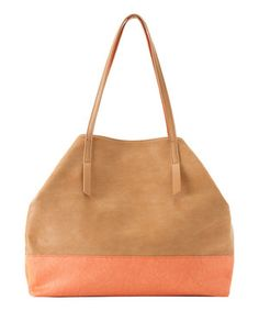 Another great find on #zulily! Shiraleah Tan & Orange Color Block Isla Tote by Shiraleah #zulilyfinds