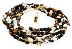 Avindy cream and black wrap bracelet with abalone on OneKingsLane.com