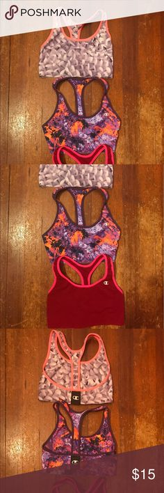 Trendy and colorful champion sports bras! Selling three champion sports bras together for $15! They are all so comfortable but unfortunately too small for me. Each has only been worn once. Champion Other