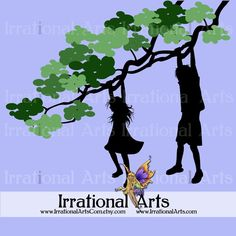 Boy and Girl Silhouettes Hanging From a Tree by IrrationalArts
