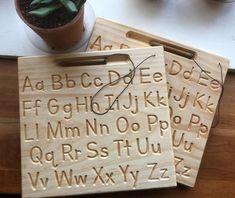 Upper and lowercase Alphabet side by side Alphabet Board Alphabet Board, Alphabet Tracing, Wooden Alphabet, Wooden Educational Toys, Homeschool Kindergarten, Preschool, Homeschooling, Cnc Projects, Montessori Activities