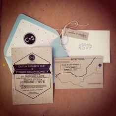 kraft paper wedding invites by laurenish design