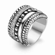 Ti Sento Ring Sterling Silver, Rose Gold & Cubic Zirconia - - Ti Sento Jewellery at Shades of Time