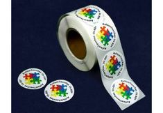 Autism Touches Us All Stickers.  These great autism awareness stickers have a wonderful puzzle design.  They come 500 Stickers per roll.   (DST-2AT)