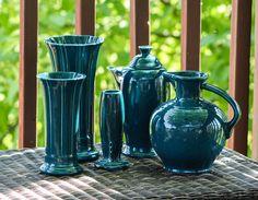 Fiesta Juniper.  Medium Small & Bud Vases.  Coffee Carafe.  Carafe.  ~ T
