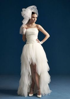 2016 Asymmetic Strapless Ruched Beaded High-Low Organza Wedding Dresses 14655