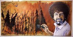 """The Planner: NCW events through August  Pictured: Artist Michael Graham pays tribute to """"The Happy Painter"""" Bob Ross with work on display at Wenatchee Valley College's MAC Gallery."""