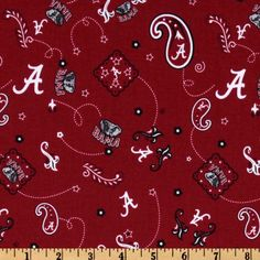 Collegiate Cotton Broadcloth University of Alabama Bandana Red from @fabricdotcom  Cheer on the Crimson Tide, your favorite college team, with this collegiate broadcloth! This cotton fabric is perfect for quilting, craft projects, apparel, decorating dorm rooms and home decor accents. Colors include black, grey, crimson, and white. Logos appearing on this fabric are protected trademarks of the University of Alabama. This product is intended for personal use only. Any unauthorized use is…