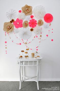 paper flowers & garland, brown mixed with neon pink & white Party Decoration, Flower Decorations, Wall Decorations, Decoration Inspiration, Inspiration Boards, Daily Inspiration, Paper Crafts, Diy Crafts, Neon Crafts
