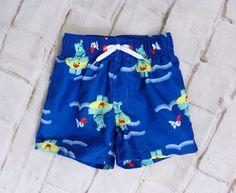 Boys GYMBOREE Blue Hippos Pelicans Elastic Waist Swim Trunks Size 0-3 Months #Gymboree #SwimBottoms