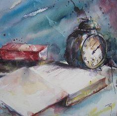 """""""As horas azuis"""" - Aguarela de C. Rey"""
