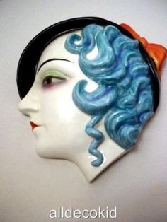 art deco hand painted royal dux ladies wall mask 1930's for sale