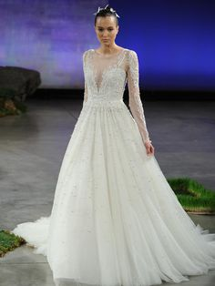Ines Di Santo natural waist tulle ball gown wedding dress with V neck and embroidered illusion sleeves