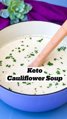 Healthy Soup Recipes, Low Carb Recipes, Real Food Recipes, Roasted Cauliflower Soup Recipe, Cauliflower Recipes, Lowest Carb Bread Recipe, Keto Food List, Keto Soup, Keto Dinner