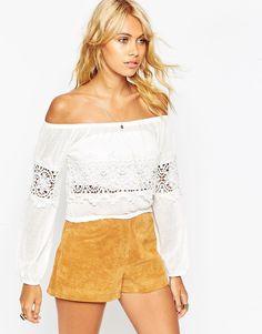 Image 1 ofASOS Off Shoulder Top with Cotton Lace Trim